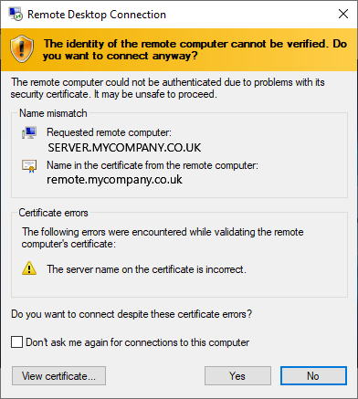 Windows certificate warning showing that the name of the server doesn't match the name of the certificate,