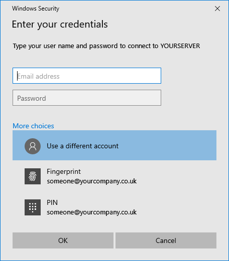 General Windows 10 login prompt
