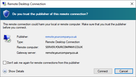 Sample RDP Connection security window
